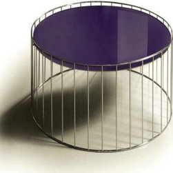 CONTEMPORARY PURPLE ROUND GLASS TOP END TABLE KAMO -