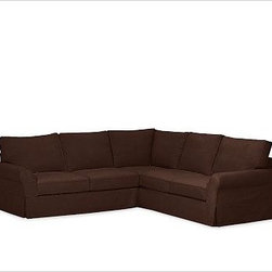 """PB Comfort Roll-Arm 3-Piece L Shaped Sectional Slipcovers, everydaysuede(TM) Mah - Designed exclusively for our PB Comfort Sectional, these soft, inviting slipcovers retain their smooth fit and remove easily for cleaning. Left 3-Piece Sectional with Box Cushions shown. Select """"Living Room"""" in our {{link path='http://potterybarn.icovia.com/icovia.aspx' class='popup' width='900' height='700'}}Room Planner{{/link}} to select a configuration that's ideal for your space. This item can also be customized with your choice of over {{link path='pages/popups/fab_leather_popup.html' class='popup' width='720' height='800'}}80 custom fabrics and colors{{/link}}. For details and pricing on custom fabrics, please call us at 1.800.840.3658 or click Live Help. All slipcover fabrics are hand selected for softness, quality and durability. Left-arm configuration is shown; also available in right-arm configuration. {{link path='pages/popups/sectionalsheet.html' class='popup' width='720' height='800'}}Left-arm or right-arm configuration{{/link}} is determined by the location of the arm on the love seat as you face the piece. This is a special-order item and ships directly from the manufacturer. To see fabrics available for Quick Ship and to view our order and return policy, click on the Shipping Info tab above. Watch a video about our exclusive {{link path='/stylehouse/videos/videos/pbq_v36_rel.html?cm_sp=Video_PIP-_-PBQUALITY-_-SUTTER_STREET' class='popup' width='950' height='300'}}North Carolina Furniture Workshop{{/link}}."""