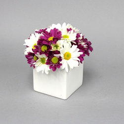 Ceramic Square Spring Vase - A Modern Collections exclusive - designed and manufactured here in the U.S.A. A great choice for Mother's Day, this floral container is perfect for simple yet beautiful designs.