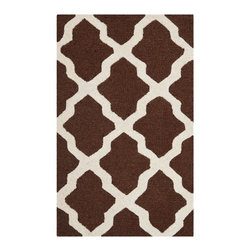 Safavieh - Transitional Cambridge 2'x3' Rectangle Dark Brown-Ivory Area Rug - The Cambridge area rug Collection offers an affordable assortment of Transitional stylings. Cambridge features a blend of natural Light Pink-Ivory color. Hand Tufted of Wool the Cambridge Collection is an intriguing compliment to any decor.