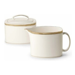 kate spade new york - kate spade new york Sonora Knot Creamer - Adorned with delicate, herringbone-inspired bands our Sonora Knot Creamer by kate spade new york has a sophisticated look. Featuring lustrous gold, platinum and black rim accents the creamer is perfect for any occasion.