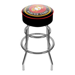 Trademark Global - United States Marine Corps Padded Swivel Bar - Officially licensed art. Reverse printed on commercial plastic to protect logo from wear. 360 degree swivel seat. Luxurious foam padding. Authentic logo highlighted by durable marine grade vinyl. Chrome plated double rung base. Lightweight and supportive. Made from tubular steel. Seat: 14 in. Dia. x 5 in. H. Overall: 20 in. Dia. x 31 in. H (17 lbs.)This officially licensed chrome bar stool will provide you and your guests with a comfortable seat as well as a stylish accent to your game room, garage or collection. Bring style, function and comfort to your game room, garage or collection with an officially licensed chrome bar stool.