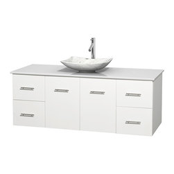 """Wyndham Collection - Centra 60"""" White Single Vanity, White Man-Made Stone Top, Carrera Marble Sink - Simplicity and elegance combine in the perfect lines of the Centra vanity by the Wyndham Collection. If cutting-edge contemporary design is your style then the Centra vanity is for you - modern, chic and built to last a lifetime. Available with green glass, pure white man-made stone, ivory marble or white carrera marble counters, with stunning vessel or undermount sink(s) and matching mirror(s). Featuring soft close door hinges, drawer glides, and meticulously finished with brushed chrome hardware. The attention to detail on this beautiful vanity is second to none."""