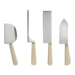 "Alessi - Alessi ""Milky Way Minor"" Cheese Knives - You can safely take on any cheese platter with the stainless steel blades of this four-piece set. Hard or soft, goat or cow, wedge or wheel, these specialty knives can handle any cheese imaginable."