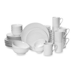 Mikasa - Mikasa Cheers White 40-Piece Dinnerware Set - Contemporary and chic, no two Cheers White pieces have the same pattern, but they work beautifully as a collection. Made from high-quality porcelain, the white-on-white decal designs like spirals and sunbursts add a subtle touch of style to any table.