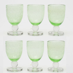 Tag Everyday - Bubble Glass Goblet in Green - Set of 6 (Gree - Color: GreenSet of 6. Handmade. Capacity: 10 oz.. 3.5 in. Dia. x 6 in. H