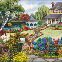 The Tile Mural Store (USA) - Tile Mural - Country Retreat - Nw - Kitchen Backsplash Ideas - This beautiful artwork by Nancy Wernersbach2 has been digitally reproduced for tiles and depicts a country cottage with colorful flowers and a lake  This garden tile mural would be perfect as part of your kitchen backsplash tile project or your tub and shower surround bathroom tile project. Garden images on tiles add a unique element to your tiling project and are a great kitchen backsplash idea. Use a garden scene tile mural for a wall tile project in any room in your home where you want to add interesting wall tile.
