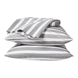 Room Essentials Easy-Care Sheet Set, Gray Stripes - I couldn't resist gray and white stripes — they're my fave.