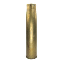 """Trench Art Tank Brass Shell Umbrella Stand - Trench art umbrella stand made from a brass shell that was fired from the M68 gun on the first model M1 tank. Marked on the underside """"For M68 Gun"""" along with other stamped marks. Would make a great quirky accent and could store thin umbrellas and canes."""