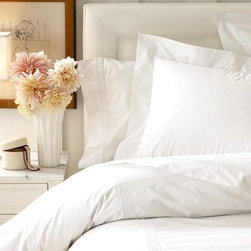 Classic Greek Key Bedding, White - The Greek key motif is especially elegant on 100 percent Egyptian cotton duvet covers and shams. The tone-on-tone white is understated.