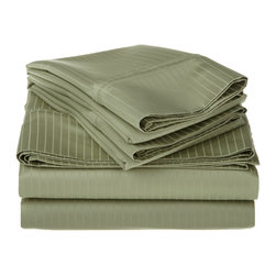 1000 Thread Count Egyptian Cotton Full Sage Stripe Sheet Set - 1000 Thread Count Egyptian Cotton oversized Full Sage Stripe Sheet Set