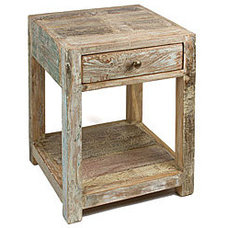 Stripped Teak Side Table (India) | Overstock.com