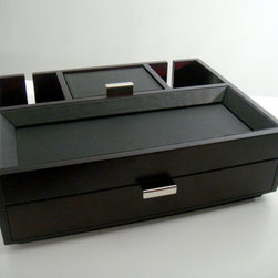 Proman Products - Monarch Dresser Valet - Monarch Dresser Valet, stylish design with leatherette tray top and pull out drawer for storage. Back slits allowing charging cord to go through. Beautiful and highly functional, it makes the perfect gift. Dark mahogany finish