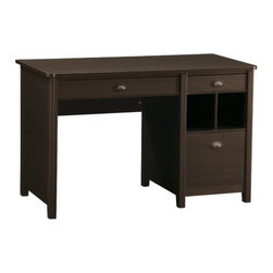 """OSP Designs - Addison Computer Desk with Single Pedestal - Features: -Addison.-Transitional style desk.-One large storage drawer.-One small storage drawer.-One legal / letter file drawer.-Recharging station with rear wire management.-Dark oldwood laminate finish.-Antique pewter finish """"cup"""" drawer pulls.-Distressed: No.Dimensions: -Dimensions: 30'' Height x 47.25'' Width x 23.5'' Depth.-Overall Product Weight: 101 lbs.Assembly: -Assembly required.Warranty: -Manufacturer provides 90 day warranty."""