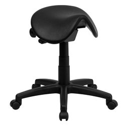 Flash Furniture - Backless Saddle Stool - This Ergonomic Stool will make a great fit in the Office/ Classroom/ Doctor's Office/ Hospital or Home Garage. The Triangular Saddle Seat lowers the thighs/ opens up the hips and positions the spine into a healthy curve. The small frame design makes it easy to maneuver around small work spaces with ease.