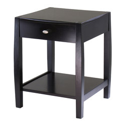 Winsome Wood - Winsome Wood Cleo Accent Table in Dark Espresso - Accent Table in Dark Espresso belongs to Cleo Collection by Winsome Wood Unique design and profile to the table top and legs is what make Cleo Collection so special. Perfect for any style decor. Collection includes End Table, Coffee Table, Accent Table and Console Table. Constructed of solid and composite wood in Espresso Finish. Assembly Required Accent Table (1)