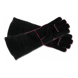 Achla - Extra Long Black Cowhide Hearth Gloves - Enjoy the extra protection these long-sleeved hearth gloves provide.  Attractive in black split cowhide, they're designed to keep hands and arms protected from flames and popping sparks.  Also handy for safely carrying logs.  Fully lined interior provides extra resistance to heat, too!  They're fully insulated with reinforced welted seams, and easily hang for storage. * Deluxe fully insulated glove-in-glove design100% split cowhide exteriorFull interior lining of non-asbestos felt. Reinforced welted seams to protect finger tipsHanging loop for easy storageBlack suede with red welting20 in. L