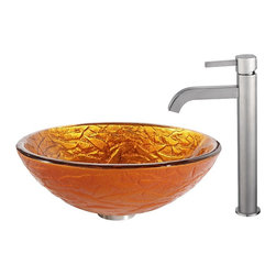 Kraus - Kraus Blaze Glass Vessel Sink and Ramus Faucet Satin Nickel - *Inspired by the crisp texture and warm colors of autumn foliage, the Blaze sink shines with an energetic orange-gold hue. Pair it with the minimalist form of the Ramus faucet in satin nickel for a soft sheen and a look of refined simplicity