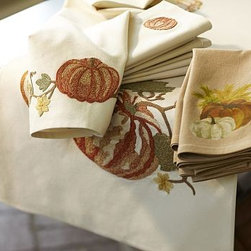 """Pumpkin Embroidered Table Runner, 16 x 108"""" - Finely detailed pumpkins and fall leaves adorn our cotton runner, representing a harvest theme originally painted by our in-house artist. 18 x 108"""" Woven of pure cotton. Backed with cotton. Machine wash. Imported."""