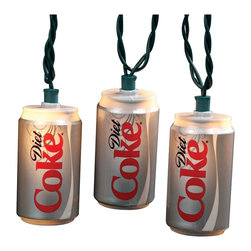 "Lamps Plus - Themed Diet Coke Cans 10-Light String of Party Lights - Put a refreshing twist on the party with these Diet Coke party lights. Featuring 10 mini soda cans that are lighted from within. 10-light string. 12"" spacing between lights. 30"" lead wire. Includes spare bulbs and fuses. Total length 11 1/2 feet.  10-light string.   A great look for entertaining or patry areas.  Diet Coke string lights.  Includes spare bulbs and fuses.   Logo © The Coca-Cola Company All Rights Reserved.   12"" spacing between lights.   30"" lead wire.   Total length 11 1/2 feet."