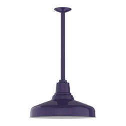 """Barn Light Electric - Benjamin® Union Porcelain Stem Mount Light - The Benjamin® Union features a tall, stacked neck design with a base that curves out to a traditional warehouse shade. Once offered in only one size, the Benjamin™ Union now comes in four sizes from 10"""" to 16"""". This fixture is a great choice for an outdoor pendant or porch light and comes in nine gorgeous porcelain enamel finish colors that will never fade or corrode."""