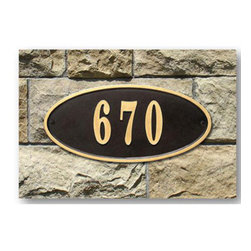 "Qualarc, Inc. - Claremont Oval Cast Aluminum Address Plaque, Bronze w/Gold Border - Powder coated aluminum address plaques have a gold border and can fit up to five 4"" gold aluminum numbers. 4"" gold cast aluminum are numbers included. Usually ships within 5 business days. Dimensions: 15"" x 7"" x 0.5"""