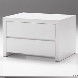 "Mobital - Blanche 2 Drawer Nightstand - The Blanche Bedroom collection is a simple and elegant line in a high gloss white finish. Blanche sets the stage for your most beautiful set of linens. It has mitred corner detailing and a polyester finish that is easily kept clean and is super durable. Features: -Interior drawers finished white.-Durable polyester lacquer finish.-Blanche collection.-Frame Material: MDF.-Solid Wood Construction: No.-Finish: White high gloss.-Powder Coated Finish: No.-Gloss Finish: Yes.-Hand Rubbed Finish: No.-Number of Items Included: 1.-Non Toxic: Yes.-Scratch Resistant: Yes.-Drawers Included: Yes -Number of Drawers: 2.-Drawer Interior Finish: White high gloss.-Drawer Glide Material: Metal.-Drawer Glide Extension: full.-Soft Close or Self Close Drawer Glides : Yes.-Safety Stop: Yes.-Ball Bearing Glides: Yes.-Drawer Dividers: No.-Felt Lined Drawers: No.-Drawer Handle Design: Finger pull..-Exterior Shelving: No.-Cabinets Included: No.-Top Material: MDF.-Lighting Included: No.-Hidden Storage: No.-Interchangeable Panels: No.-Mirror Included: No.-Cable Management: No.-Built In Outlets: No.-Finished Back: Yes.-Distressed: No.-Collection: Blanche.-Swatch Available: No.-Commercial Use: Yes.-Recycled Content: No.-Eco-Friendly: Yes.-Product Care: Damp cloth no harsh detergents.Specifications: -FSC Certified: No.-EPP Compliant: No.-CPSIA or CPSC Compliant: No.-CARB Compliant: Yes.-JPMA Certified: No.-ASTM Certified: No.-ISTA 3A Certified: Yes.-PEFC Certified: No.-General Conformity Certificate: No.-Green Guard Certified: No.Dimensions: -Overall Height - Top to Bottom: 16"".-Overall Width - Side to Side: 24"".-Overall Depth - Front to Back: 16"".-Drawers: Yes.-Tabletop Thickness: 1.5"".-Overall Product Weight: 53 lbs.Assembly: -Assembly Required: No.-Additional Parts Required: No.Warranty: -Product Warranty: One year."