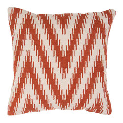 "Jaipur Rugs - Red/Ivory color cotton cad06 pillow poly fill pillow 18""X18"" - Hand woven from 100% cotton the Cadiz pillow collection offers a range of open geometrics in bold color combinations. The collection coordinates with Jaipur Maroc and Urban bungalow flat weave rugs."