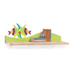 Room Magic Tropical Seas Wall Shelf - Two kissing fish float in front of some seaweed on the wave of the Room Magic Star Rocket Wall Shelf. Made with birch veneer, this wall shelf is ideal for hanging over a desk, dresser, changing table, or anywhere you need a bit of extra storage.About Room MagicRoom Magic doesn't just make children's furniture; they design furniture specifically for children, using the magic of childhood imagination and creativity as a guiding principle. Beginning in 1999 with graphic designer Karen Andrea's attempt to create a truly lively and unique room for her five-year-old daughter Sarah, the company has maintained a focus on using bright colors and unique themes that steer clear of cliched motifs. Bright and bold playful cut outs decorate the quality hardwood pieces finished with beautiful stains. With collections that are geared both to boys and to girls, Room Magic provides the furniture, accessories, and bedding you need to bring the magical fun of childhood to your kids' rooms.