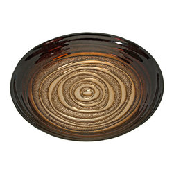 Keops Glass Bowl - Color inspired from a mocha swirl bistro treat, the Keops glass bowl features a fading deep coffee brown into a light cream center. Food safe.