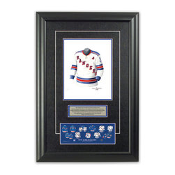 """Heritage Sports Art - Original art of the NHL 1965-66 New York Rangers jersey - This beautifully framed piece features an original piece of watercolor artwork glass-framed in an attractive two inch wide black resin frame with a double mat. The outer dimensions of the framed piece are approximately 17"""" wide x 24.5"""" high, although the exact size will vary according to the size of the original piece of art. At the core of the framed piece is the actual piece of original artwork as painted by the artist on textured 100% rag, water-marked watercolor paper. In many cases the original artwork has handwritten notes in pencil from the artist. Simply put, this is beautiful, one-of-a-kind artwork. The outer mat is a rich textured black acid-free mat with a decorative inset white v-groove, while the inner mat is a complimentary colored acid-free mat reflecting one of the team's primary colors. The image of this framed piece shows the mat color that we use (Medium Blue). Beneath the artwork is a silver plate with black text describing the original artwork. The text for this piece will read: This original, one-of-a-kind watercolor painting of the 1965-66 New York Rangers jersey is the original artwork that was used in the creation of this New York Rangers uniform evolution print and tens of thousands of other New York Rangers products that have been sold across North America. This original piece of art was painted by artist Tino Paolini for Maple Leaf Productions Ltd. Beneath the silver plate is a 3"""" x 9"""" reproduction of a well known, best-selling print that celebrates the history of the team. The print beautifully illustrates the chronological evolution of the team's uniform and shows you how the original art was used in the creation of this print. If you look closely, you will see that the print features the actual artwork being offered for sale. The piece is framed with an extremely high quality framing glass. We have used this glass style for many years with excellent results"""