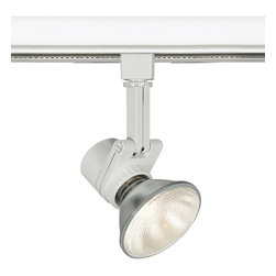 "WAC - Contemporary WAC Studio 733 L White Track Head for Juno - Large architectural-grade spot luminaire. White finish. Die-cast aluminum construction. Takes one maximum 50 watt PAR20 or 75 watt PAR30 bulb (not included). Lockable precision aiming with guide marks. 350-degree horizontal rotation 90-degree vertical tilt. Tool-free re-lamping. For use on Juno track lighting systems. 10 1/2"" high. 4 1/2"" wide.   Large architectural-grade spot luminaire.  White finish.  Die-cast aluminum construction.  Takes one maximum 50 watt PAR20 or 75 watt PAR30 bulb (not included).  Lockable precision aiming with guide marks.  350-degree horizontal rotation 90-degree vertical tilt.  Tool-free re-lamping.  For use on Juno track lighting systems.  10 1/2"" high.  4 1/2"" wide."