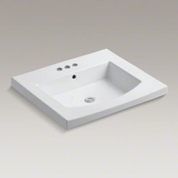 """KOHLER - KOHLER Persuade(R) Curv vanity-top bathroom sink with 4"""" centerset faucet holes - The Persuade Collection captures the essence of modernity in sleek curves and clean lines. With a curved basin and integrated countertop, the Persuade Curv sink brings the beauty of symmetry to the bathroom. This sink coordinates with Persuade Collection"""