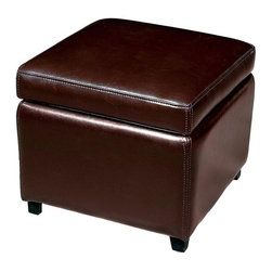 Wholesale Interiors - Baxton Studio Storage Leather Ottoman - This cube storage ottoman is a versatile piece useful in any room of your home. This elegant ottoman provides styles and room to keep items out of sight yet close at hand to meet both your decorative and storage needs. Sturdy construction consisting of kiln dried hardwood, with high density foam padding and hinged lid for easy opening and closing. Durable polyurethane coated leather upholstery for longer lasting use and stain resists for easy clean up. Leg constructed with solid rubber wood with veneer finish completes with elegant smooth, clean lines design. The perfect combination of quality craftsmanship with simple and sophisticated designs, that will instantly enhance any room decor.