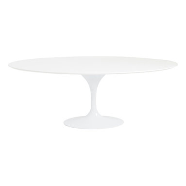 Euro Style - Euro Style Astrid Oval Dining Table 28012A/28012B - Sleek, clean and curvy. The tabletop is over 6 feet in diameter and the base is a graceful, seamless stem that blossoms out at the top to support the table. Engineered to be stable, styled to b? Noticed.