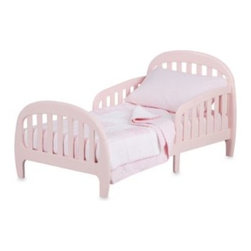 Simmons - Simmons Slumbertime 2-in-1 Loft Convertible Toddler Bed in Pink - This two-in-one toddler bed converts from a toddler bed to an oversized child's chair to adapt to your growing child. It's transitional in design, has unique rounded side rails and is attractive enough to complement any room setting.
