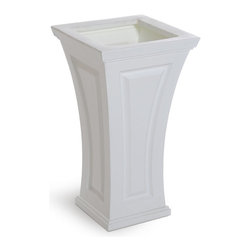 Mayne Inc. - Cambridge Tall Planter White - The Cambridge planter offers a blend of modern and traditional design.  The curved shape creates a unique and classy look providing a beautiful accent to the entrance of any home. Single wall molded design, made with high-grade polyethylene. Self watering tray insert creates sub-irrigation water system and encourages root growth. The tray can be reversed to support a potted plant or removed so the planter can be completely filled with soil. Drainage holes to be pre-drilled by customer depending on desired use of the planter. Opening Dimension is 11in x 11in.  Approximately 8 gallon soil capacity, 6.5 gallon water capacity. 15-year limited warranty.