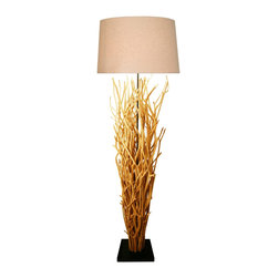 Natural Design House - Natural Arbor Branch Floor Lamp - Elemntaire Natural Arbor Branches Floor lamp made of natural branches with coarse linen shade