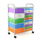 """4D Concepts - 4D Concepts 363024 15-Drawer Rolling Storage in Multi Color Drawers - Want the perfect storage unit? This 15 drawer rolling cart can add that needed storage to any room in the home. The 5 large (Inside dim 12""""w x 14 1/8""""l x 5 1/8"""" h) and 10 (Inside dim 12""""w x 14 1/4""""l x 2 7/16) multi color foldable polypropylene drawers snap together with silver buttons and come with a silver railing around the top of the drawer. The silver colored finger pulls make it easy to pull the drawer in and out of the unit. The frame is made out of metal and is then powder coated to give it a very durable surface. The 15 drawers rest on a metal rail on the frame and come with a stop on the back side. The perforated metal top offers a sense of style to the top of the unit as well as additional storage. Rounding the top and having 2"""" casters make this unit easy to move around the home. Clean with a dry non abrasive cloth. Assembly required."""