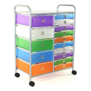 "4D Concepts - 4D Concepts 363024 15-Drawer Rolling Storage in Multi Color Drawers - Want the perfect storage unit? This 15 drawer rolling cart can add that needed storage to any room in the home. The 5 large (Inside dim 12""w x 14 1/8""l x 5 1/8"" h) and 10 (Inside dim 12""w x 14 1/4""l x 2 7/16) multi color foldable polypropylene drawers snap together with silver buttons and come with a silver railing around the top of the drawer. The silver colored finger pulls make it easy to pull the drawer in and out of the unit. The frame is made out of metal and is then powder coated to give it a very durable surface. The 15 drawers rest on a metal rail on the frame and come with a stop on the back side. The perforated metal top offers a sense of style to the top of the unit as well as additional storage. Rounding the top and having 2"" casters make this unit easy to move around the home. Clean with a dry non abrasive cloth. Assembly required."