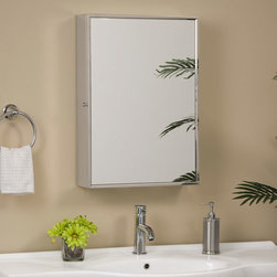 Echo Reversible Stainless Steel Medicine Cabinet with Mirror - Add a clean, modern touch to your bathroom with the Echo Stainless Steel Medicine Cabinet. Its slim framed mirror and interior shelving will bring functional style to any home.