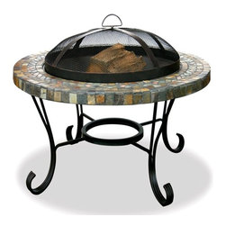 Uniflame - Round Mosaic Slate Firebowl w Wrought Iron St - A warm, welcome outdoor area is yours with this classic firebowl from Uniflame. It features a classic tile mosaic rim, accented with multicolor flair throughout. Sturdy wrought iron legs are scrolled for an elegant touch, while a safety-minded spark arrestor keeps ash and wood chips in the bowl. Easy Lift Spark Arrestor. Easy Loading and Tending. Heavy Wrought Iron Stand. Steel Grate. Warranty: 1 year Limited. 34 in. Slate and Marble Surround Fire Pit - Copper Accents. 22 in. Diameter Black Porcelain Bowl