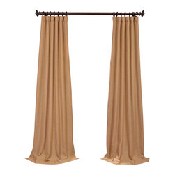 "Exclusive Fabrics & Furnishings, LLC - Farro Gold Heavy Faux Linen Curtain - 100% Polyester. 3"" Pole Pocket with Hook Belt & Back Tabs. Unlined. Imported. Weighted Hem. Dry Clean Only."
