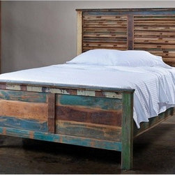 "CG Sparks - Reclaimed Panel Bed - Get a good night's rest on this queen-size platform bed. Made of reclaimed wood, this bed features a stripped finish for a unique look and slanted panels with a low footboard. Story behind the art: This product was created in North Western India. Once the British removed its armed forces from the region in the late 40s, a majority of the industries available for the local economy disappeared with them. The indigenous people went back to the traditional crafts and furniture manufacturing that they had known for generations. This industry has truly created a renaissance in economic growth in the region. The handcrafted touch of artisan skill creates variations in color, size and design. If buying two of the same item, slight differences should be expected. Note: Color discrepancies may occur between this product and your computer screen. Mattress, box springs and bedding (comforter, sheets, pillows, etc.) are not included. Features: -Size: Queen.-Slatted panel design with low footboard.-Intended for use with a box spring and mattress set.-Reclaimed wood construction.-Distressed: Yes.-Collection: Reclaimed.-Powder Coated Finish: No.-Gloss Finish: No.-Solid Wood Construction: Yes.-Upholstered: No.-Non Toxic: Yes.-Scratch Resistant: No.-Mattress Included: No.-Headboard Storage: No.-Footboard Storage: No.-Underbed Storage: No.-Slats Required: Yes -Number of Slats Required: 8.-Slats Included: Yes..-Center Support Legs: No.-Adjustable Headboard Height: No.-Adjustable Footboard Height: No.-Wingback: No.-Trundle Bed Included: No.-Attached Nightstand: No.-Built in Outlets: No.-Lighted Headboard: No.-Finished Back: No.-Reclaimed Wood: Yes.-Bed Rails Included: Yes.-Eco-Friendly: No.-Recycled Content: No.-Canopy Frame: No.-Hidden Storage: No.-Swatch Available: No.-Commercial Use: No.-Product Care: We recommend using a cleaning solution of 3 parts water to 1 part white vinegar. Clean with a cotton rag..Specifications: -FSC Certified: No.-EPP Compliant: No.-CPSIA or CPSC Compliant: No.-CARB Compliant: No.-JPMA Certified: No.-ASTM Certified: No.-ISTA 3A Certified: No.-PEFC Certified: No.-General Conformity Certificate: No.-Green Guard Certified : No.Dimensions: -Overall Product Weight: 300 lbs.-Overall Height - Top to Bottom: 60"".-Overall Width - Side to Side: 61"".-Overall Depth - Front to Back: 81"".Assembly: -Assembly Required: No.-Tools Needed: No tools required.-Additional Parts Required: No."