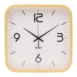 "WOLF - 12"" Square Wall Clock, White - Simplicity and minimalism characterize this square framed, medium-size wooden wall clock. This stark, contemporary design features a 12"" white dial contrasted with black hands and sans-serif numberingperfect for viewing from across the room."