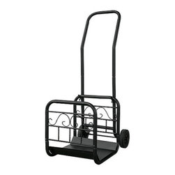 Uniflame - Uniflame W-1058 Large Black Wrought Iron Log Rack w/ Wheel And Removable Cart - Large Black Wrought Iron Log Rack w/ Wheel And Removable Cart belongs to Fireplace Accessories Collection by Uniflame