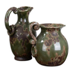Uttermost - Grace Feyock 2 Pc Set Hani Ceramic Pitchers - Designer: Grace Feyock. Ceramic finished in distressed forest Green with aged Black and khaki undertones. Sizes:. Small: 10 in. L x 7 in. W x 14 in. H. Large: 11 in. L x 10 in. W x 12 in. H