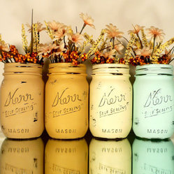 Painted and Distressed Mason Jars by Beach Blues