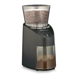 Capresso - Capresso Infinity Black Conical Burr Grinder - If you consider yourself a coffee connoisseur then this premium bean grinder is perfect for you. The commercial grade solid conical steel burrs have an advanced cutting design that produces high-precision grinding.