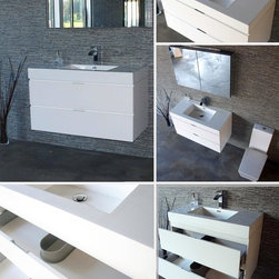 Bliss 40'' White Wall Mount Bathroom Vanity - MDO (Moister and Water Proof) Wood construction Console w/ 2 Drawers